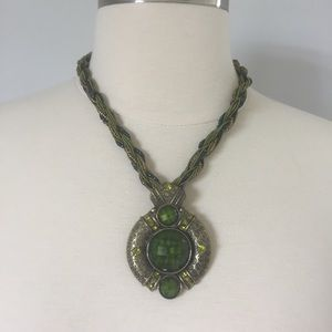 Green Pendant Necklace & Twisted Ribbon/Bead Chain